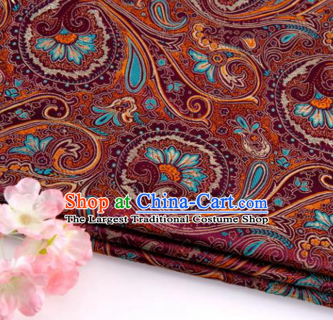 Asian Chinese Traditional Peacock Tail Pattern Purple Nanjing Brocade Fabric Tang Suit Silk Material