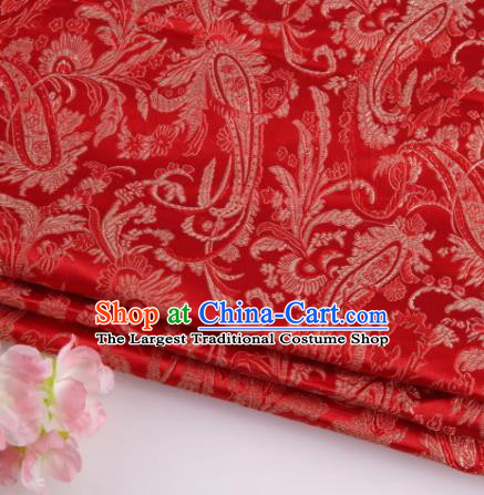 Asian Chinese Traditional Loquat Flower Pattern Red Brocade Fabric Tang Suit Silk Material