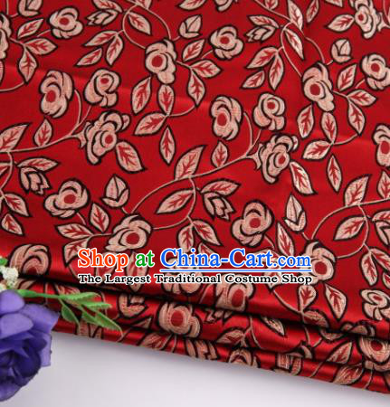 Asian Chinese Traditional Leaf Pattern Red Nanjing Brocade Fabric Tang Suit Silk Material
