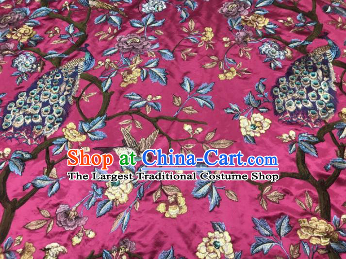 Asian Chinese Suzhou Embroidered Peacock Pattern Rosy Silk Fabric Material Traditional Cheongsam Brocade Fabric
