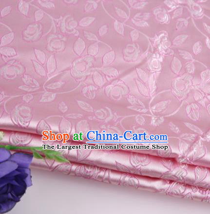 Asian Chinese Traditional Leaf Pattern Pink Nanjing Brocade Fabric Tang Suit Silk Material