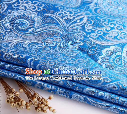 Asian Chinese Traditional Pipa Flowers Pattern Blue Nanjing Brocade Fabric Tang Suit Silk Material