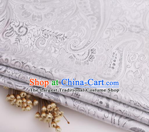 Asian Chinese Traditional Pipa Flowers Pattern White Nanjing Brocade Fabric Tang Suit Silk Material