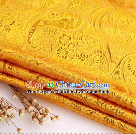 Asian Chinese Traditional Pipa Flowers Pattern Golden Nanjing Brocade Fabric Tang Suit Silk Material