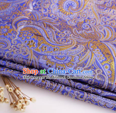 Asian Chinese Traditional Pipa Flowers Pattern Deep Blue Nanjing Brocade Fabric Tang Suit Silk Material