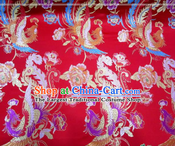 Asian Chinese Traditional Phoenix Peony Pattern Red Nanjing Brocade Fabric Tang Suit Silk Material