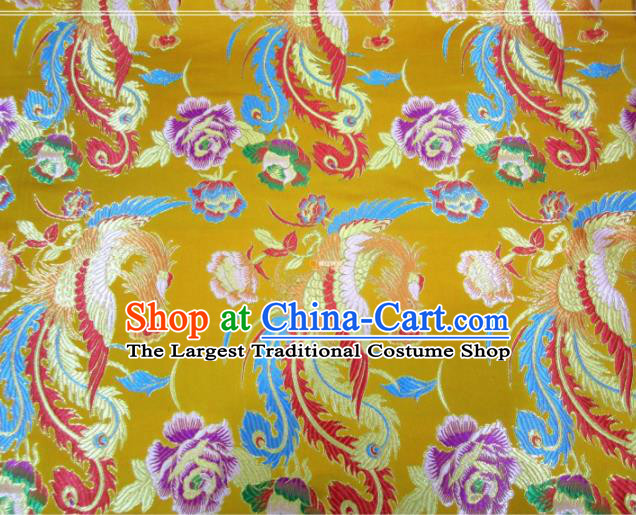 Asian Chinese Traditional Phoenix Peony Pattern Yellow Nanjing Brocade Fabric Tang Suit Silk Material