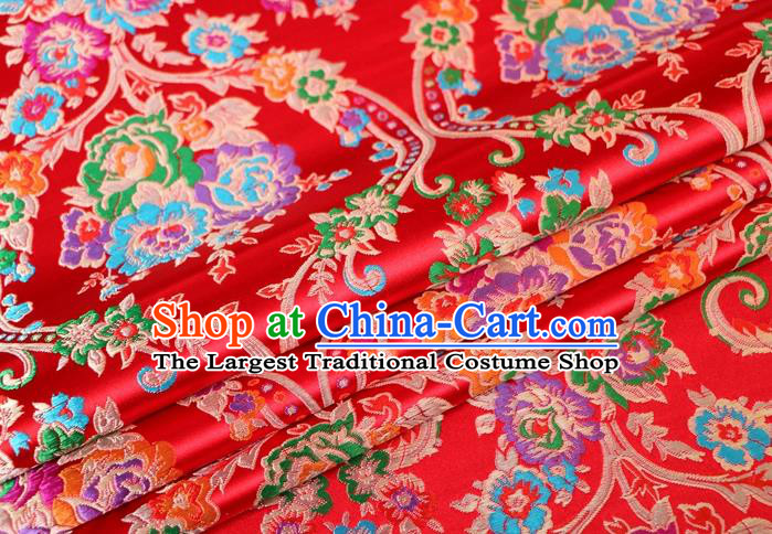 Asian Chinese Traditional Peony Pattern Red Nanjing Brocade Fabric Tang Suit Silk Material