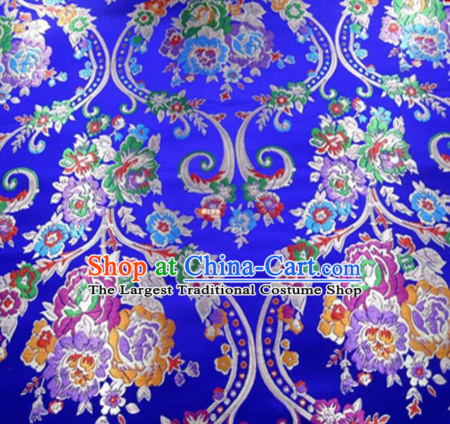 Asian Chinese Traditional Peony Pattern Royalblue Nanjing Brocade Fabric Tang Suit Silk Material