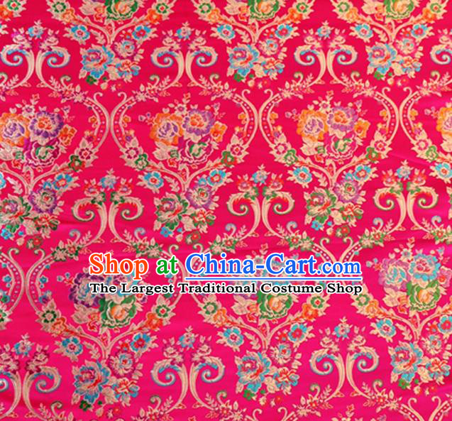 Asian Chinese Traditional Peony Pattern Rosy Nanjing Brocade Fabric Tang Suit Silk Material