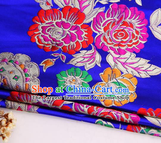 Asian Chinese Traditional Peony Flowers Pattern Royalblue Satin Nanjing Brocade Fabric Tang Suit Silk Material