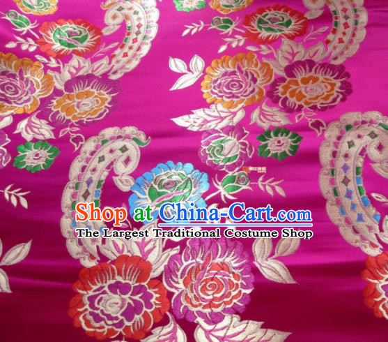 Asian Chinese Traditional Peony Flowers Pattern Rosy Satin Nanjing Brocade Fabric Tang Suit Silk Material