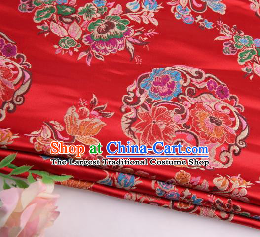 Asian Chinese Traditional Lotus Pattern Red Satin Nanjing Brocade Fabric Tang Suit Silk Material