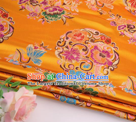 Asian Chinese Traditional Lotus Pattern Golden Satin Nanjing Brocade Fabric Tang Suit Silk Material