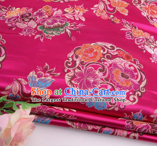 Asian Chinese Traditional Lotus Pattern Rosy Satin Nanjing Brocade Fabric Tang Suit Silk Material
