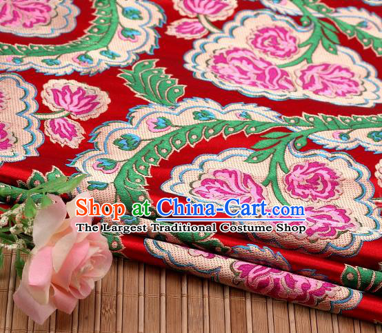 Asian Chinese Traditional Red Satin Peony Pattern Nanjing Brocade Fabric Tang Suit Silk Material