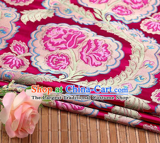 Asian Chinese Traditional Rosy Satin Peony Pattern Nanjing Brocade Fabric Tang Suit Silk Material