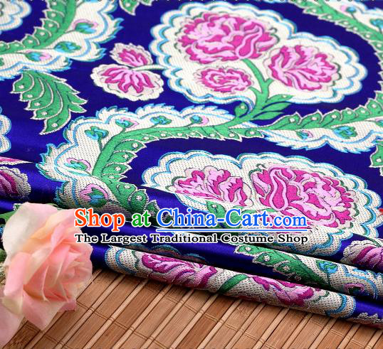 Asian Chinese Traditional Royalblue Satin Peony Pattern Nanjing Brocade Fabric Tang Suit Silk Material