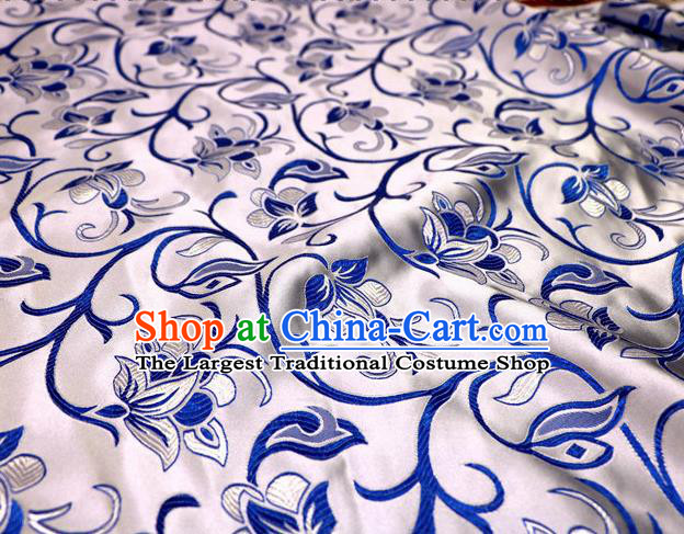 Asian Chinese Traditional White Satin Royal Pattern Nanjing Brocade Fabric Tang Suit Silk Material