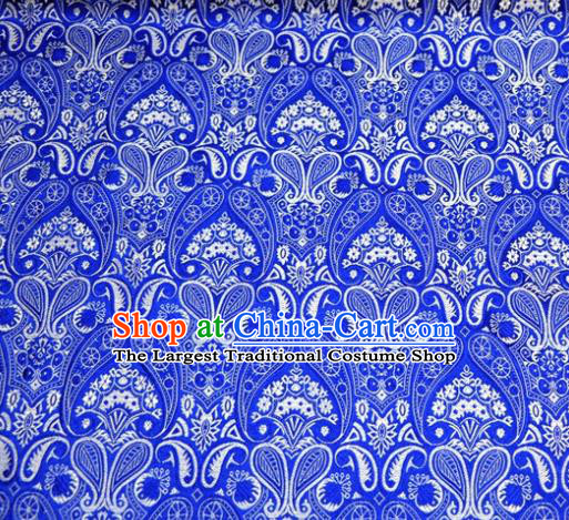 Asian Chinese Traditional Blue Satin Royal Pattern Brocade Fabric Tang Suit Silk Material