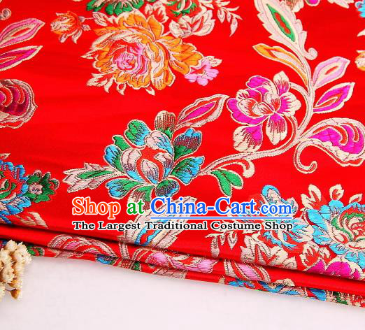 Asian Chinese Traditional Satin Royal Peony Pattern Red Nanjing Brocade Fabric Tang Suit Silk Material