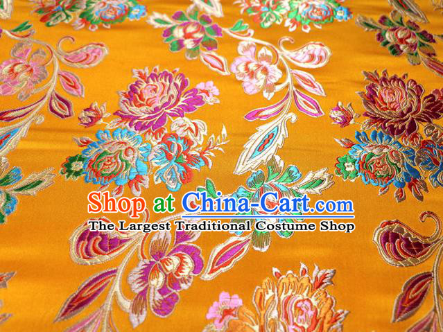 Asian Chinese Traditional Satin Royal Peony Pattern Golden Nanjing Brocade Fabric Tang Suit Silk Material