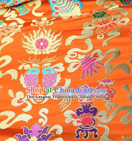 Asian Chinese Traditional Satin Royal Fishes Pattern Yellow Nanjing Brocade Fabric Tang Suit Silk Material