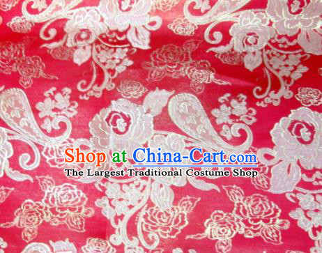 Asian Chinese Traditional Satin Royal Pattern Red Brocade Fabric Tang Suit Silk Material
