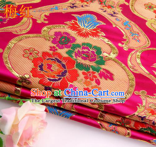 Asian Chinese Traditional Royal Peony Pattern Rosy Satin Nanjing Brocade Fabric Tang Suit Silk Material