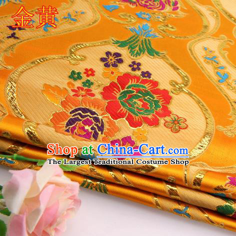 Asian Chinese Traditional Royal Peony Pattern Golden Satin Nanjing Brocade Fabric Tang Suit Silk Material