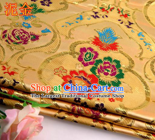 Asian Chinese Traditional Royal Peony Pattern Light Golden Satin Nanjing Brocade Fabric Tang Suit Silk Material