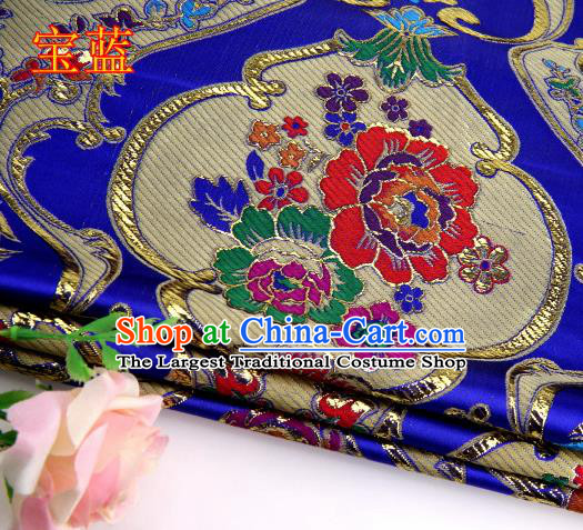 Asian Chinese Traditional Royal Peony Pattern Royalblue Satin Nanjing Brocade Fabric Tang Suit Silk Material
