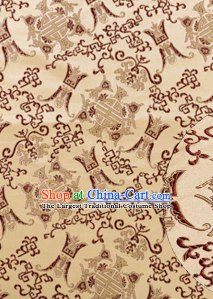 Asian Chinese Traditional Royal Longevity Pattern Golden Satin Nanjing Brocade Fabric Tang Suit Silk Material