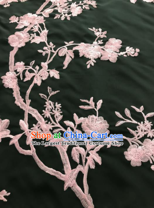 Asian Chinese Suzhou Embroidered Peony Birds Pattern Black Silk Fabric Material Traditional Cheongsam Brocade Fabric