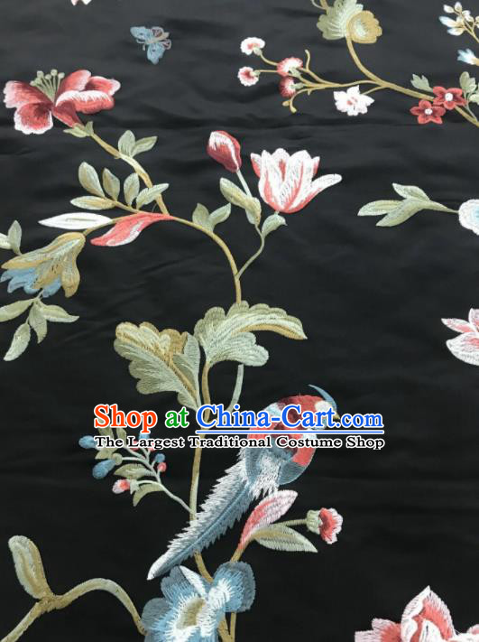 Asian Chinese Suzhou Embroidered Flowers Birds Pattern Black Silk Fabric Material Traditional Cheongsam Brocade Fabric