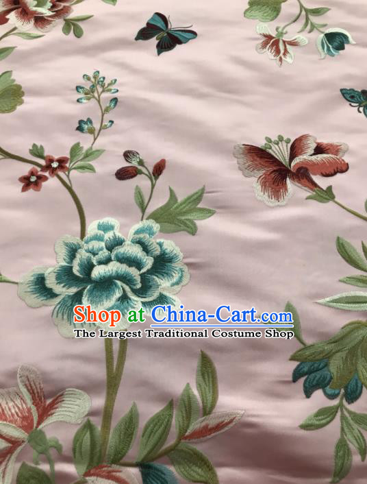 Asian Chinese Suzhou Embroidered Flowers Birds Pattern Pink Silk Fabric Material Traditional Cheongsam Brocade Fabric
