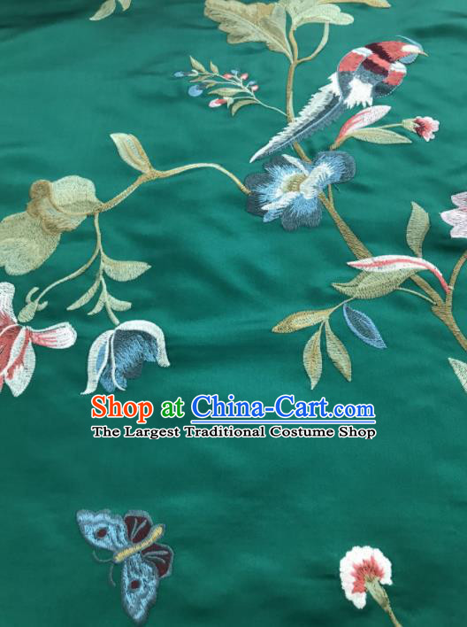 Asian Chinese Suzhou Embroidered Flowers Birds Pattern Green Silk Fabric Material Traditional Cheongsam Brocade Fabric