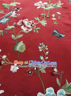 Asian Chinese Suzhou Embroidered Flowers Birds Pattern Red Silk Fabric Material Traditional Cheongsam Brocade Fabric