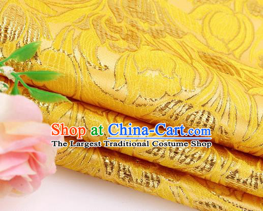 Asian Chinese Traditional Royal Tulip Pattern Yellow Satin Nanjing Brocade Fabric Tang Suit Silk Material