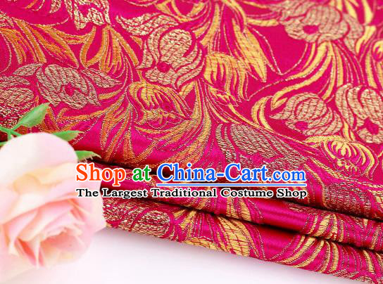 Asian Chinese Traditional Royal Tulip Pattern Rosy Satin Nanjing Brocade Fabric Tang Suit Silk Material