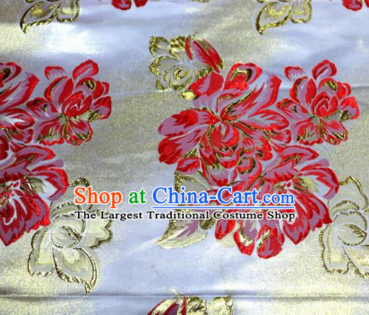 Asian Chinese Traditional Red Peony Pattern Satin Brocade Fabric Tang Suit Silk Material