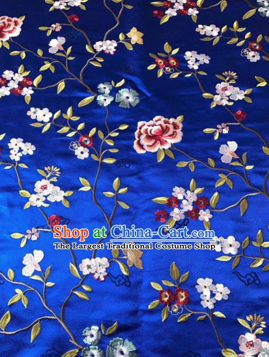 Asian Chinese Suzhou Embroidered Flowers Pattern Royalblue Silk Fabric Material Traditional Cheongsam Brocade Fabric