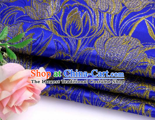 Asian Chinese Traditional Royal Tulip Pattern Royalblue Satin Nanjing Brocade Fabric Tang Suit Silk Material