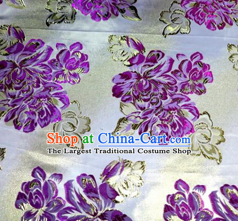 Asian Chinese Traditional Purple Peony Pattern Satin Brocade Fabric Tang Suit Silk Material