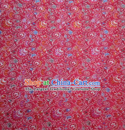 Asian Chinese Traditional Cockscomb Pattern Red Satin Brocade Fabric Tang Suit Silk Material