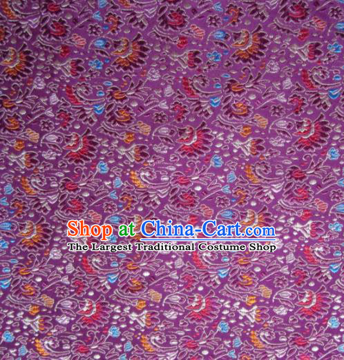 Asian Chinese Traditional Cockscomb Pattern Purple Satin Brocade Fabric Tang Suit Silk Material
