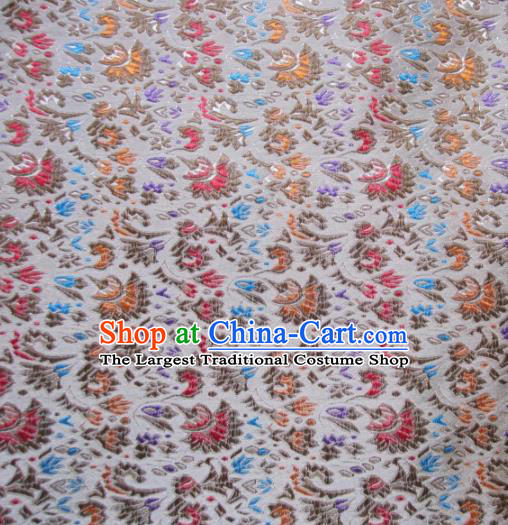 Asian Chinese Traditional Cockscomb Pattern White Satin Brocade Fabric Tang Suit Silk Material
