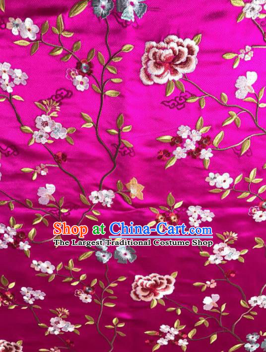 Asian Chinese Suzhou Embroidered Flowers Pattern Rosy Silk Fabric Material Traditional Cheongsam Brocade Fabric