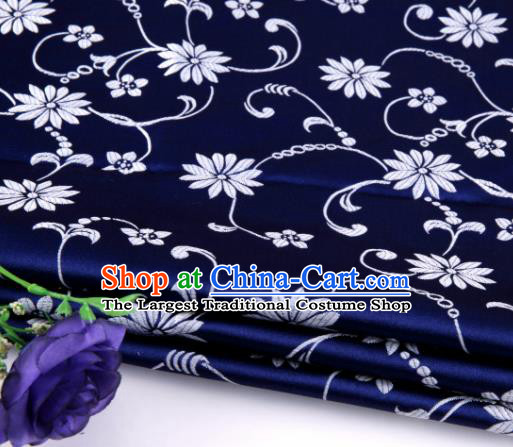 Asian Chinese Traditional Twine Lotus Pattern Navy Satin Brocade Fabric Tang Suit Silk Material