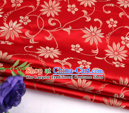 Asian Chinese Traditional Twine Lotus Pattern Red Satin Brocade Fabric Tang Suit Silk Material